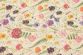 Kraftig hørfarvet canvas med sommerblomster.