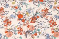 Lys pudderfarvet viscosejersey med blomster
