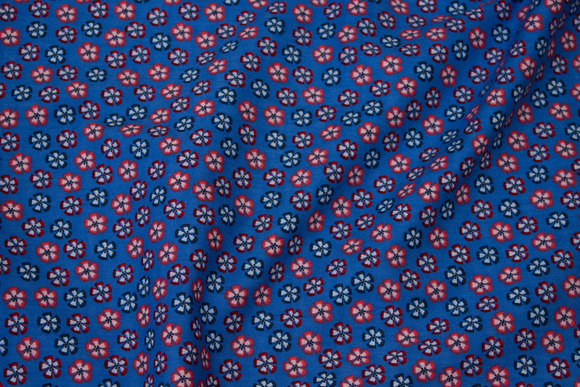 Mellemblå bomuld med 1 cm blomster