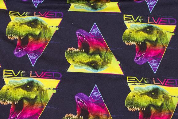 Mørk marine bomuldsjersey med dinosaurer