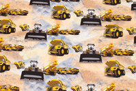 Sandfarvet bomuldsjersey med gule arbejdskøretøjer