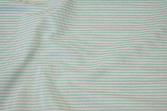 Smalstribet bomuld i mint og hvid