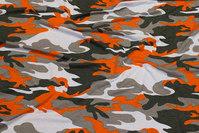 Viscosejersey camouflage med orange
