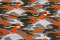 Viscosejersey camouflage med orange.