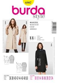 Burda mønster: Frakke med hætte og stående krave