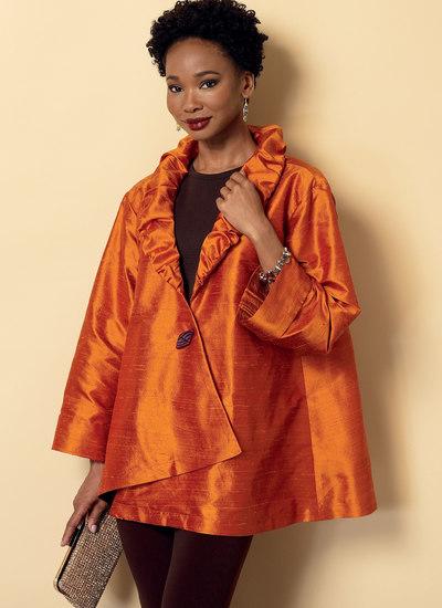 Veste med krave og jakker med asymmetrisk søm