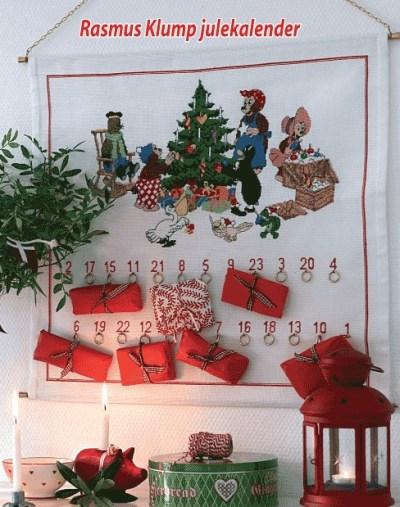 Hvid julepakkekalender med Rasmus Klump