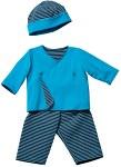 Bluse med omslag, bukser med elastik, hat
