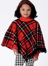 Pige kappe og poncho med hætte og krave. Butterick 6373.