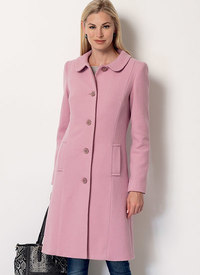 Klassisk frakke med krave. Butterick 6385.