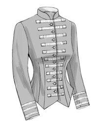 Uniformsjakke med plissering. Butterick 6400.