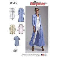 Lang kjoleskjorte. Simplicity 8546.