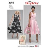 Vintage Kjole med v-udskæring. Simplicity 8592.