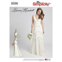Kjole med valgfrit slæb. Simplicity 8596.