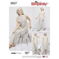 Afslapningstøj, blusekjole, let at sy. Simplicity 8607.
