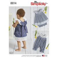 Baby Kjole, Buksedragt og underbukser. Simplicity 8614.