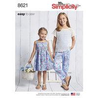 Kjole, Top, Bukser og Undertrøje til piger. Simplicity 8621.