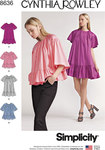 Simplicity 8636. Women's Dress and Top by Cynthia Rowley.