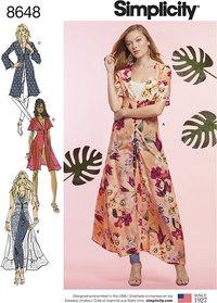 Kimono-kjoler i to længder. Simplicity 8648.