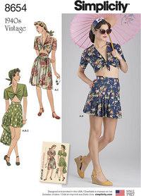 Vintage nederdel, shorts og bundet top. Simplicity 8654.