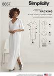 Simplicity 8657. Caftan kjole med tilpasningsmuligheder.