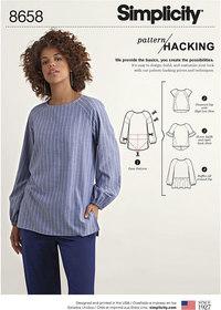 Top og skjortebluse med muligheder for design tilpasning. Simplicity 8658.