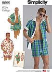 Simplicity 8659. Vintage Cabana Sæt og strandtøj til mænd.