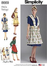 Vintage forklæder. Simplicity 8669.