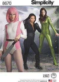 Superhelte eller cosplay kvinder kostumer. Simplicity 8670.
