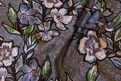 Blød, heavyjersey i koksgrå med blomster