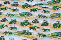 Bomuldsjersey med grønne traktorer