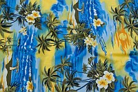 Hawaii-bomuld i blå og gul med palmer