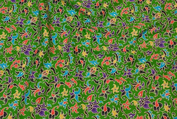 Klassisk grøn bomuld med multifarvet mønster