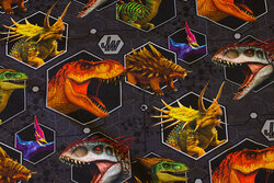 Koksgrå bomuldsjersey med dinosaurer