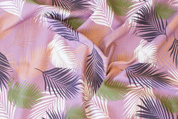Lys støvlilla bomuldsjersey med ca. 8 cm store blade