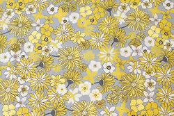 Lysegrå bomuldsjersey med gule blomster