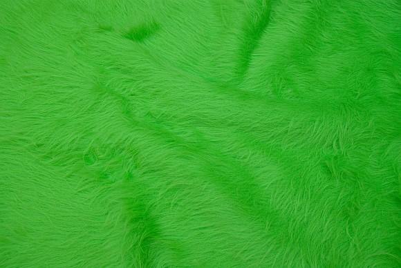 Lysegrøn, langhåret pelsstof