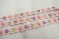 Lyserød sommerfugle-bånd 1cm