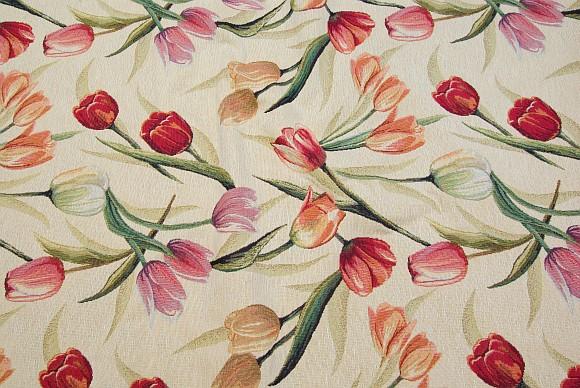 Møbelgobelin i cremefarve med tulipaner