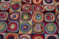 Møbelgobelin i multifarver med 9 cm cirkelmønster