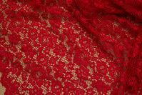 Rød kjoleblonde med tungekant i begge sider