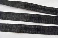 Satin/reps bånd sort med glimmer 2,6cm