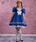Lolita kjoler med empiretalje og ærmevariationer. Mønstret har også Pinafore og underskørt.