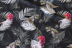 Sort bomuldsjersey med dinosaurer og blade