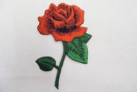Stor broderet rose mærke 13x8cm