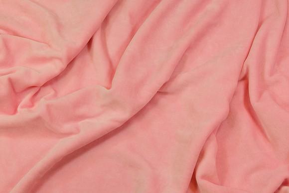 Strækvelour i sart lyserød