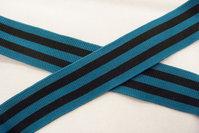 Strikke stribet bånd petrol og sort 3,5 cm
