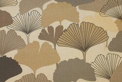 Textildug med blade i gråbrune nuancer