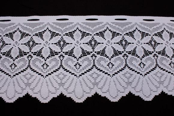 Hvid café-gardin, 28 cm høj