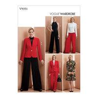 Jakke, Top, kjole, bukser, Vogue Wardrobe. Vogue 9351.